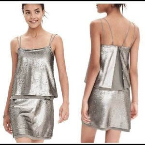 Banana Republic Silver Metallic Sequin Dress
